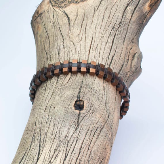 Sublime bracelet men/men's Brown genuine leather beads Hematite matte aspect cube 3mm handmade-Maide in France B-108