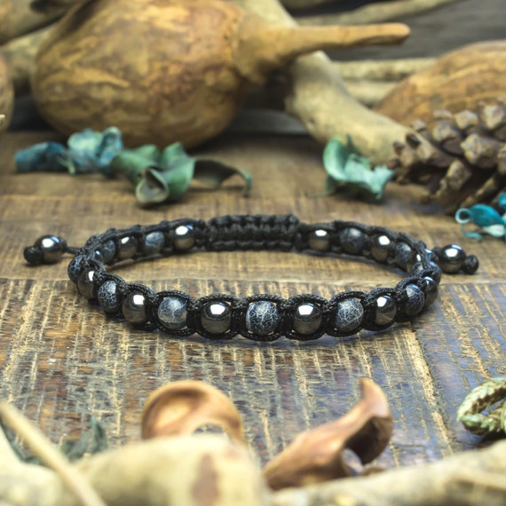 Men's bracelet/men's beads Ø6mm natural gem stone agate Spider Web Hematite Tibetan style made in France