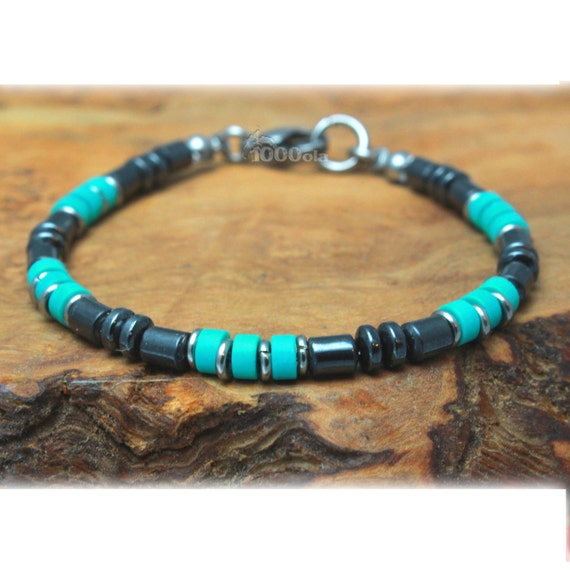 New BRACELET man beads 4 mm stones natural real Turquoise stabilized hematite rings stainless/Inox Steel carabiner clasp