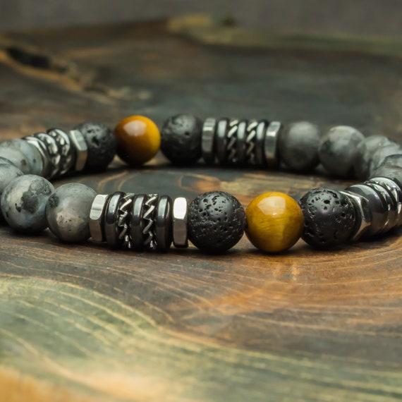 Beaded bracelet 8mm natural stones Eye Tiger Labradorite Grey Matte Lava Volcanic Lava Black Hematite washers steel 1000ola