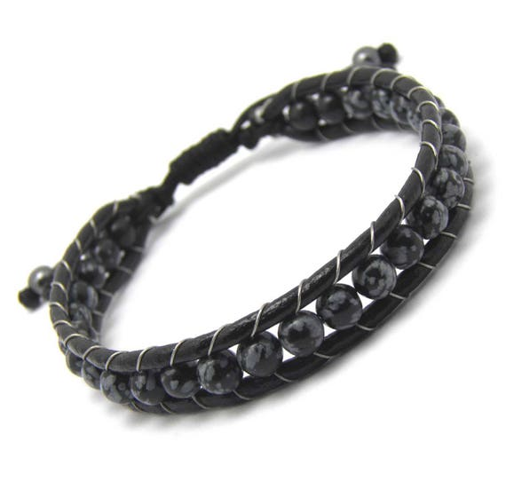 Bracelet men genuine leather beads Ø 6mm natural stone obsidian black grey, Hematite