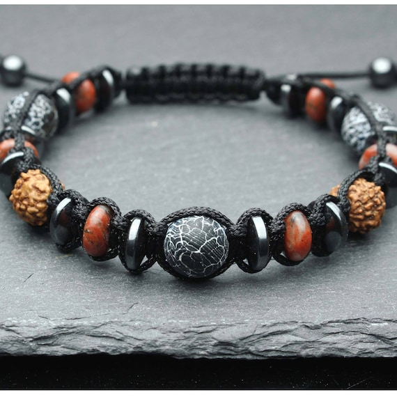Bracelet men/men's pearls Ø8-10MM stone agate black Spider Web wood seeds Rudraksha Jaspe red Hematite made man