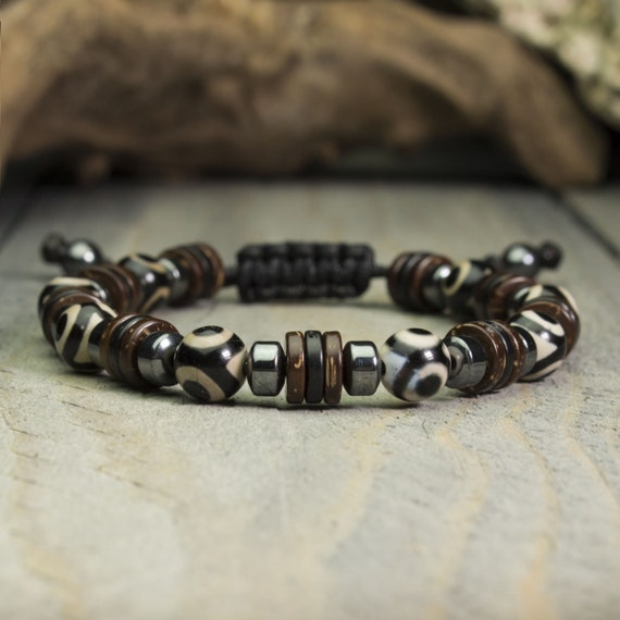 Men/men bracelet - 8mm pearls natural stone Agate Dzi with 3 eyes Hematite Tibetan style Made in France