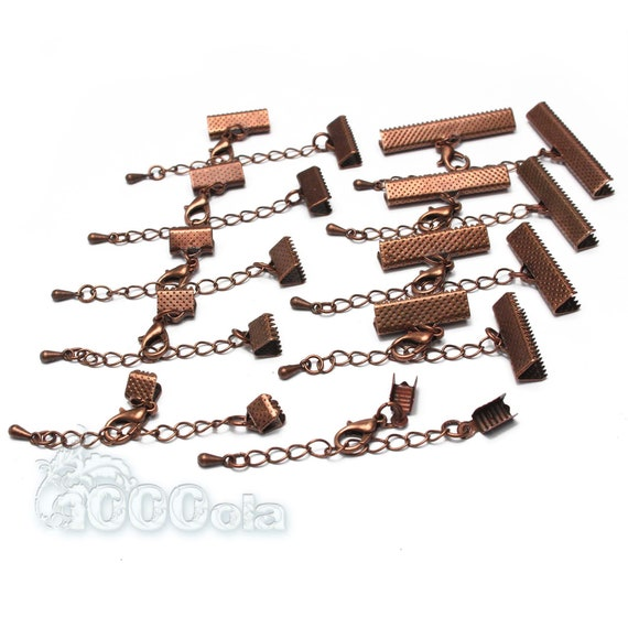 "Lot 10 Sets Copper Color ""Claw Tips - Extension Chain - Cladding Clasp"" Creation Jewelry Bracelet Necklace"