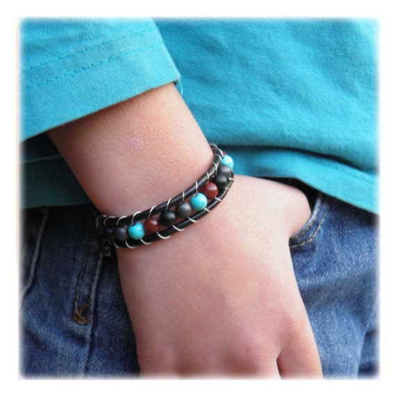 Bracelet Kids/Teens genuine leather beads Ø6mm natural stone Picasso Jasper white Hematite howlite turquoise agate