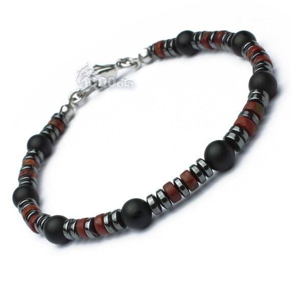 New BRACELET man pearls stone Jasper/Jasper Natural red Agate/onyx black hematite matte Metal carabiner clasp stainless/inox P118