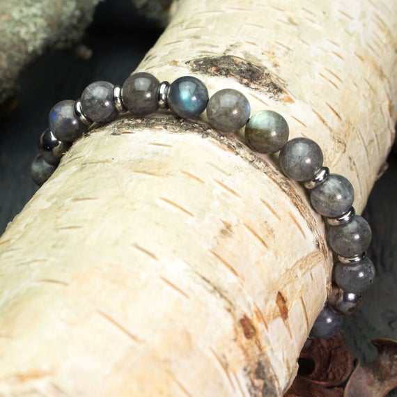 Bracelet men/women beads natural gemstone Larvikite Labradorite grey Pearl rings stainless steel made handmade creation 1000ola Ø8mm