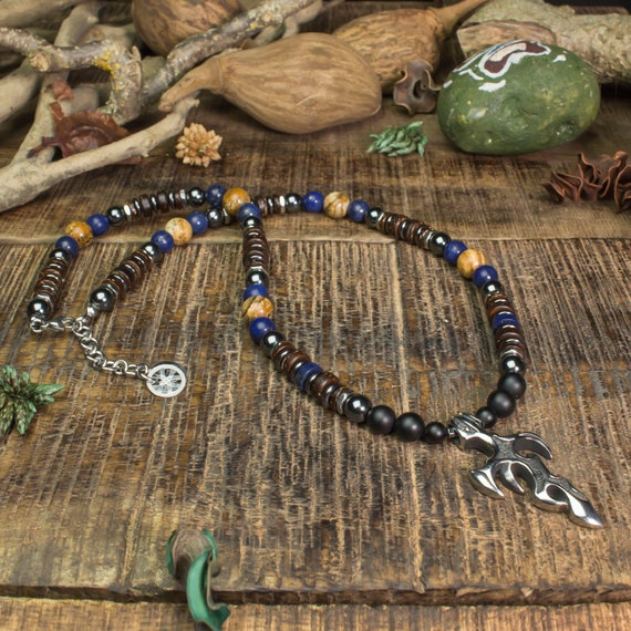 Necklace man beads 8mm natural Lapis Lazuli Jasper Agate/Onyx hematite pendant sword stainless metal antique Style Coco wood