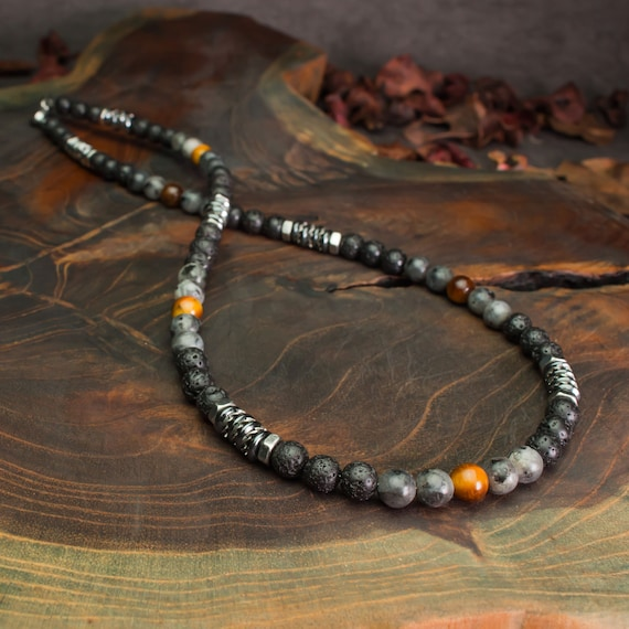 Men's Pearls Necklace 6mm Natural Stone Eye Tiger Larvikite Labradorite Matte Grey Lava Volcanic Lava Black Washers Hematite Metal INOX
