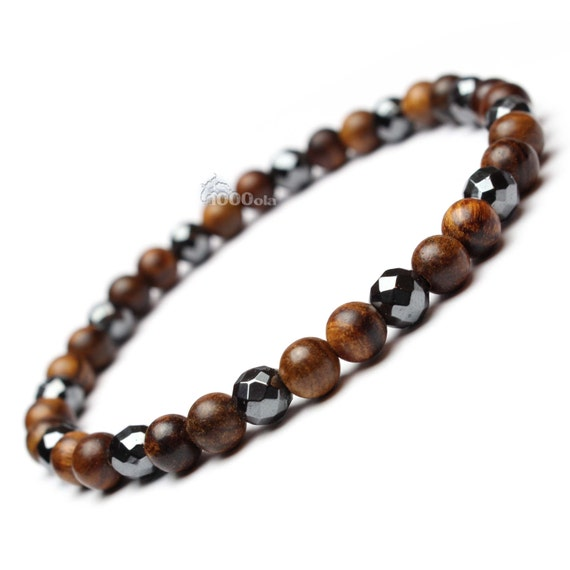 Male/female surfer/surf style bracelet beads natural Huanghuali wood Brown Ø6mm stone natural hematite faceted P126