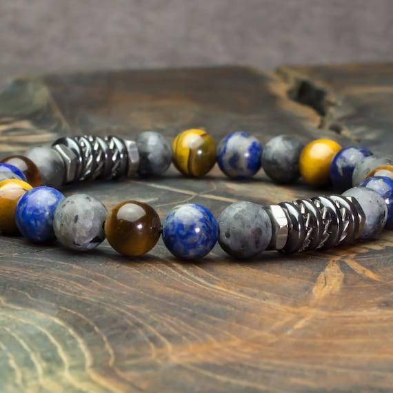 Men's/Female Pearls Bracelet 8mm Stones Larvikite Labradorite Tiger Eye, Lapis Lazuli washers Hematite stainless steel Tibetan style