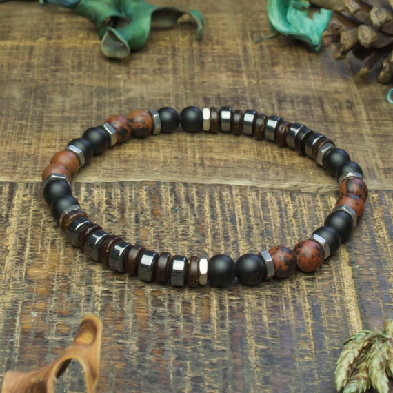 Man/woman Beads Bracelet Ø6mm Mahogany Obsidian Agate/Onyx wood coconut/coconut Hematite steel stone silver stainless/inox