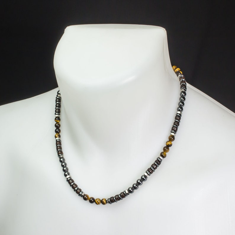 Necklace manmen/'s beads \u00d8 6 mm natural stone hematite Tiger \u0152il wood coco Hexagon rings steel stainless Made in France 1000ola
