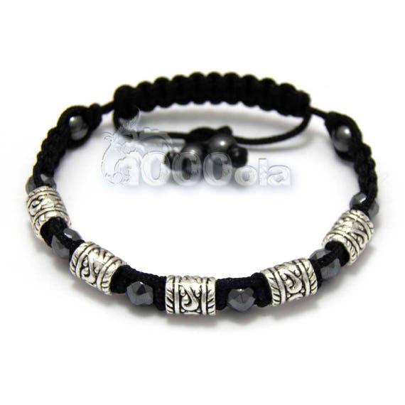 Bracelet Homme/Men's Style Shambala Perles Hématite noir Métal couleur argent vieilli Aspect Antique style tibétain fait main