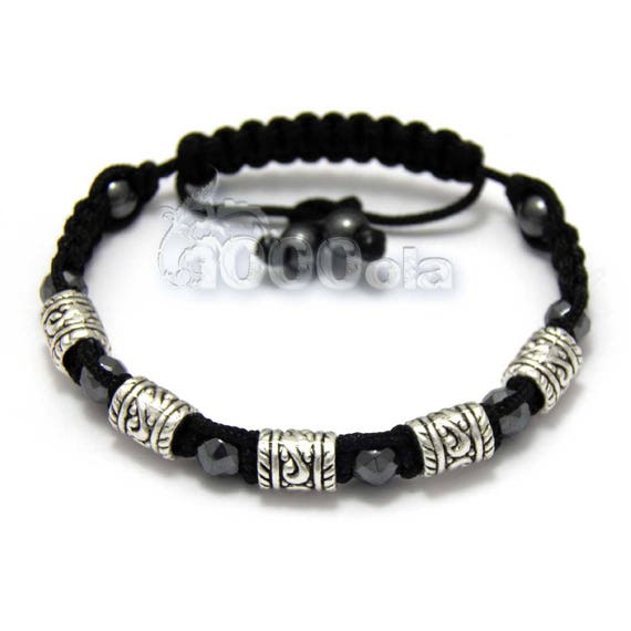 Bracelet men/men's style Shambala black Hematite beads metal color antique silver look ancient Tibetan style handmade
