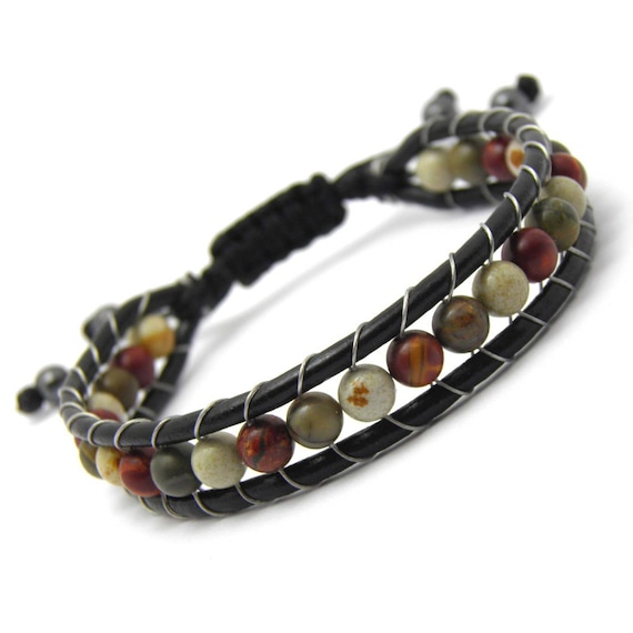 Men's/Women's Tibetan STYLE Bracelet Mala Leather VÉRITABLE Pearls -6mm Natural Stone Picasso Jasper custom made