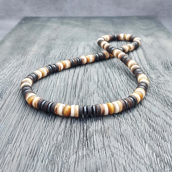 Beautiful Surfboard/Men's Pearls Style Necklace - 8mm Natural Stone Eye of Tiger Hémétite Wood Cocotier/Cocotier/Coco made in France