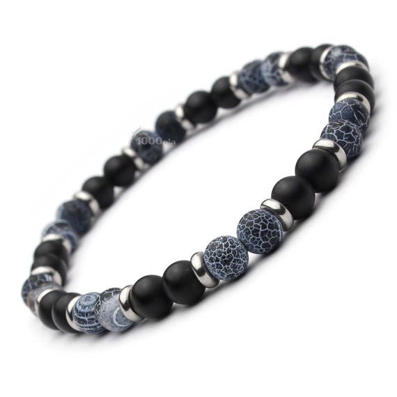 Trendy fashion BRACELET men agate beads black matte grey (Onyx) 6mm + rings metal stainless steel/stainless