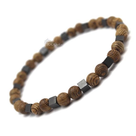 Male/female surfer/surf style bracelet beads natural wood wenge/wenge wood 6mm + hematite cube black P87 4x4mm