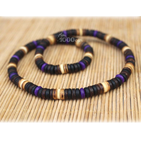 Male/female surfer/surf style necklace beads stone natural howlite purple wood coconut/coconut Ø 8 mm P75