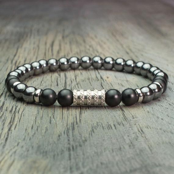 Men's Pearl Bracelet - 6mm Gemstone Agate Black Mat Hematite Handmade Handmade Steel in France BRAINIX-01
