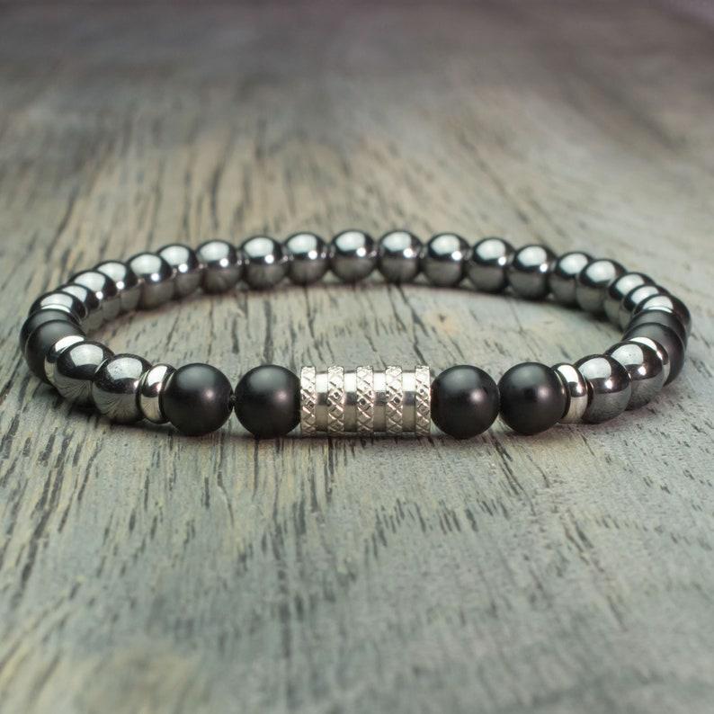 dbae9c9d00f Bracelet homme perles Ø 6mm pierre gemme Agate Noir Mat