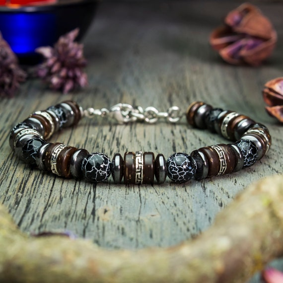 Mens bracelet Ø8mm Hematite Tibetan style Spider Web Agate natural stone wood 1000ola creation hand made coconut/coconut beads