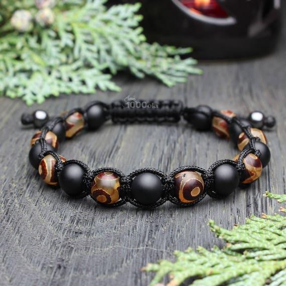 Trendy fashion bracelet men beads Ø 8mm natural stone agate pattern Tibetan Onyx matte black yarn nylon