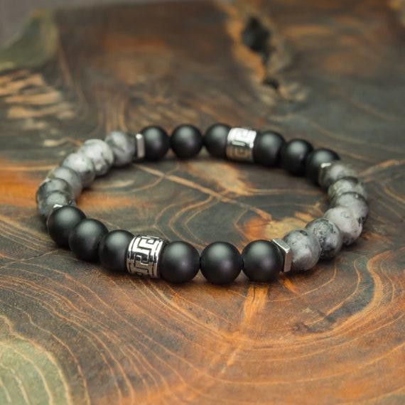 New Bracelet Men's Pearls 8mm Natural Stones Larvikite Labradorite Grey Mat Agate/onyx Black Pearl Tube Tube Style Tibetan Steel 1000ola