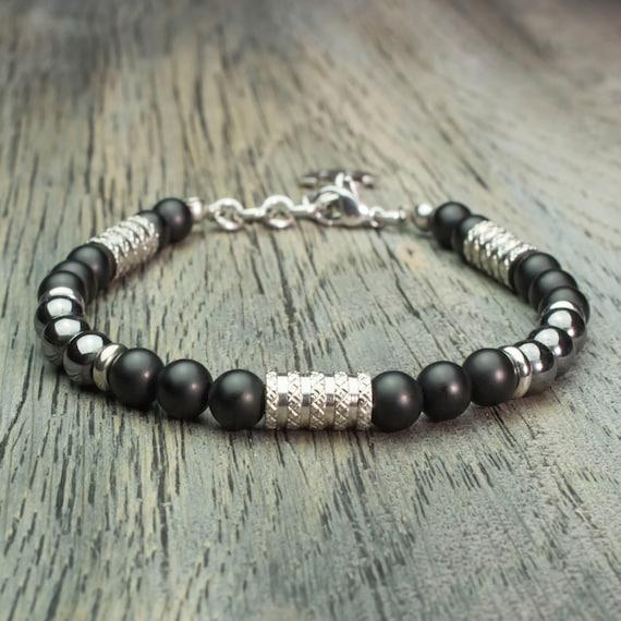 Men's Pearl Bracelet - 6mm Gemstone Agate Black Mat Hematite charm pendant anchor navy Stainless Steel Made in France