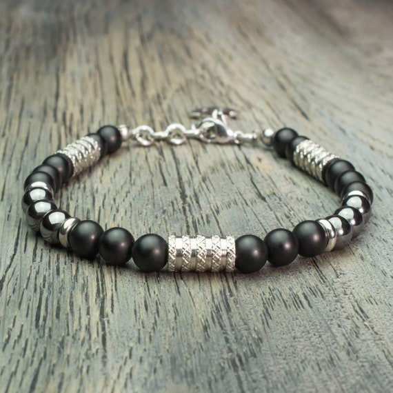 Beads Ø 6mm gemstone bracelet men black Agate matte Hematite pendant stainless steel anchor charm is hand Made in France