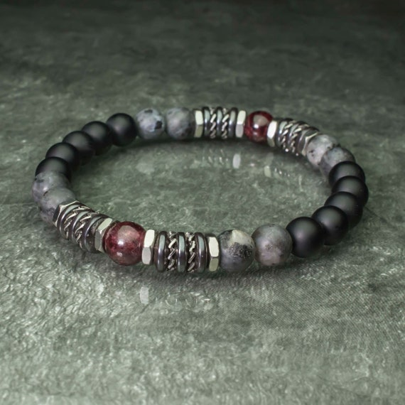 Bracelet pearls 8mm natural stones Garnet Labradorite Matt grey Agate/Onyx black Hematite Stainless steel Made in France 1000ola
