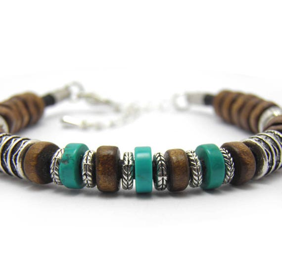 Men/women genuine leather thread bracelet wood beads silver Metal antique Tibetan stone natural genuine
