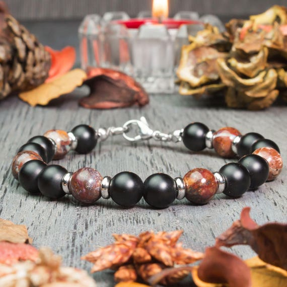 Man/woman beads Ø8mm natural Opal, Agate stone matte black stainless/inox Metal clasp rings handmade 1000ola
