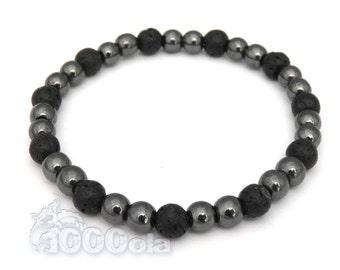 BRACELET Jewelry Men/Men's Pearls 6mm black volcanic lava - Black Hematite Made in France