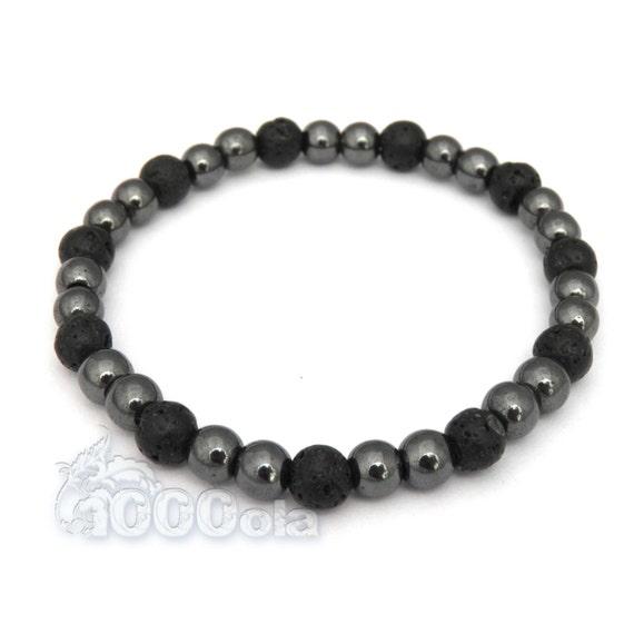 BRACELET men's/men's beads 6mm black volcanic lava + black Hematite made in France