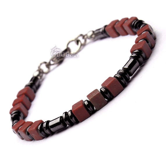 BRACELET men beads 4 mm stones natural black howlite Brown hematite cube 5x5mm clasp steel stainless/Inox P145
