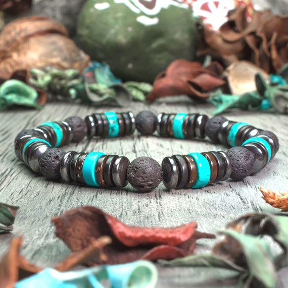 Sublime men/women Bracelet beads Ø 8mm natural stone lava volcanic black Turquoise wood coconut/coconut Hematite Metal