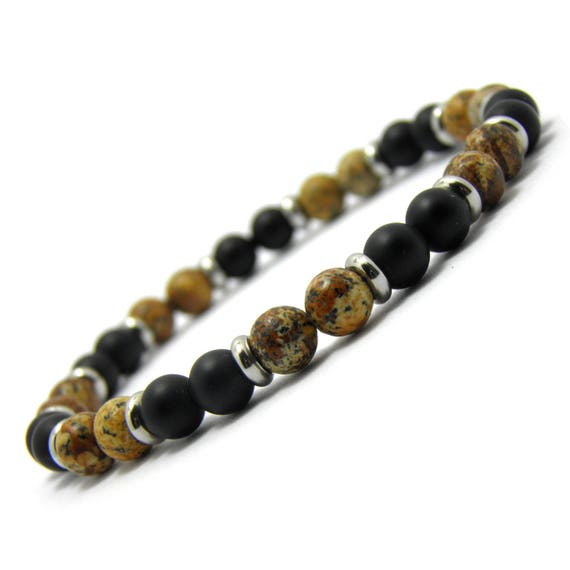 Fashion trend BRACELET Men's Pearls Agate black matte (Onyx) - natural stone Picasso Jasper 6mm - rings
