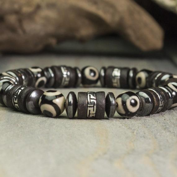 Sublime Bracelet Men/Men Style Tibetan Pearls -8mm Natural Stone Agate Dzi Pearls to 3 Eyes Stainless Steel Hematite Wood Coconut