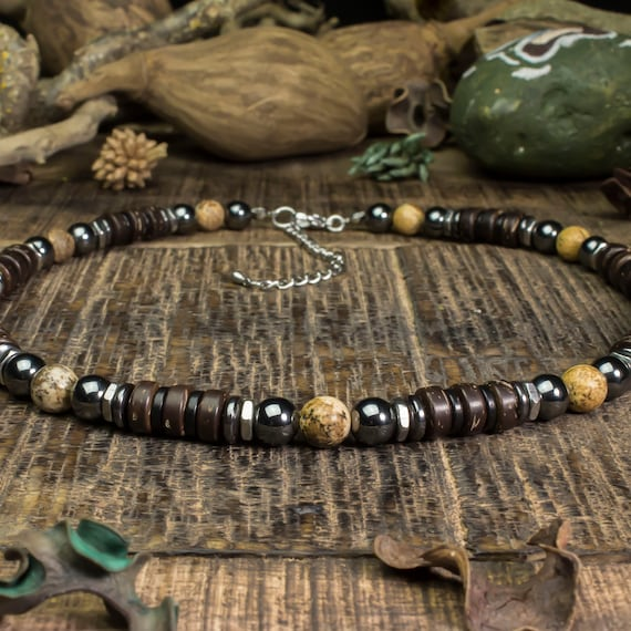 Beautiful necklace man/woman stone 8 mm natural Picasso Jasper wood coco/coconut hematite metal stainless silver color Made in France