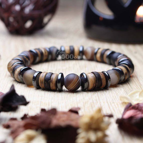 Beautiful men/women Bracelet beads Ø 8mm natural stone beige-Brown Agate, coconut/coconut wood, Hematite Made in France P217