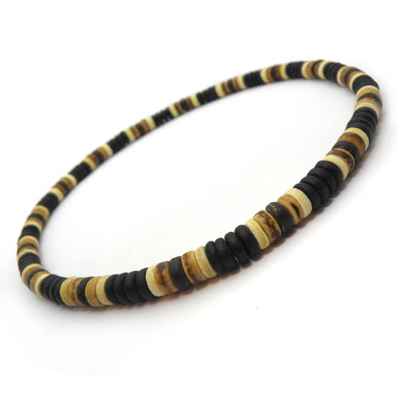 Fashion elastic necklace men/men's surfer/surf style beads natural wood coconut/coconut Ø 8 mm P20