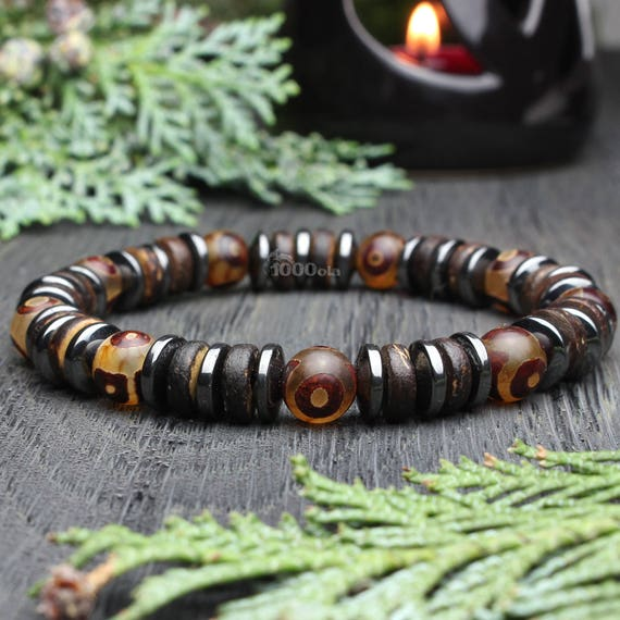Beautiful Men's Bracelet/Men Pearls - 8mm Natural Stone Agate Tibetan Motif Hematite Coco Wood/Cocotier Handmade Made in France