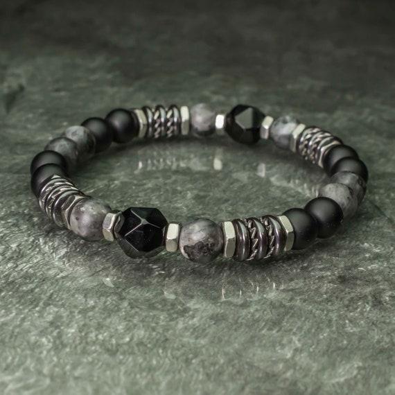 Bracelet pearls 9mm natural stones Agate Facet 8mm Labradorite Matt grey Agate/Onyx black Hematite Stainless steel Made in France