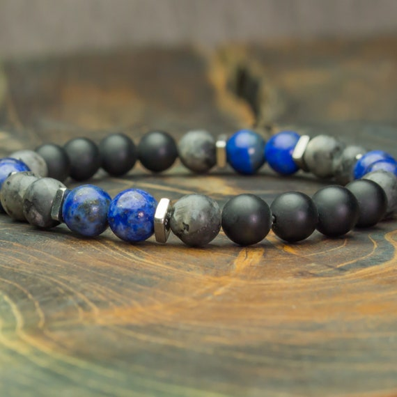 Men's/Female bracelet beads 8mm natural stones Lapis Lazuli Labradorite Grey matte Agate/onyx black stainless steel Made in France