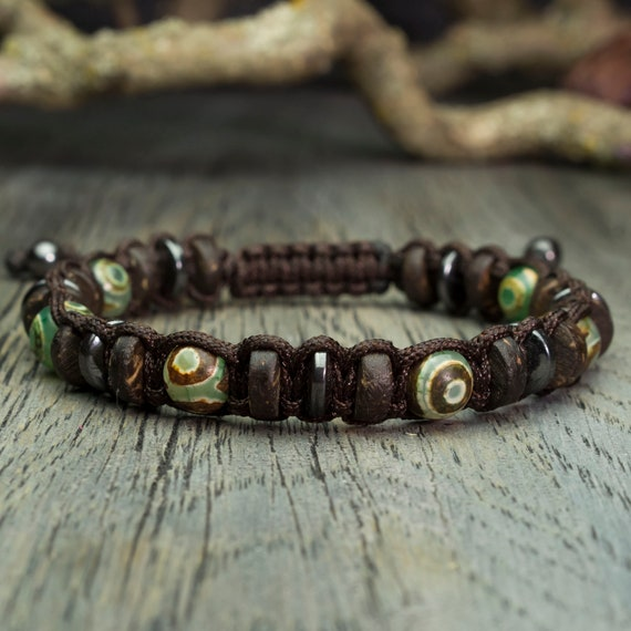 Men's bracelet Shambala style beads Ø 8mm natural stone agate motif Tibetan Hematite wood Coco/coconut thread Brown nylon BRATIB