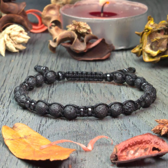 Men's bracelet Shambala style beads Ø 6mm in natural stone volcanic lava (Vesuvianite) Hematite black wire nylon handmade 1000ola