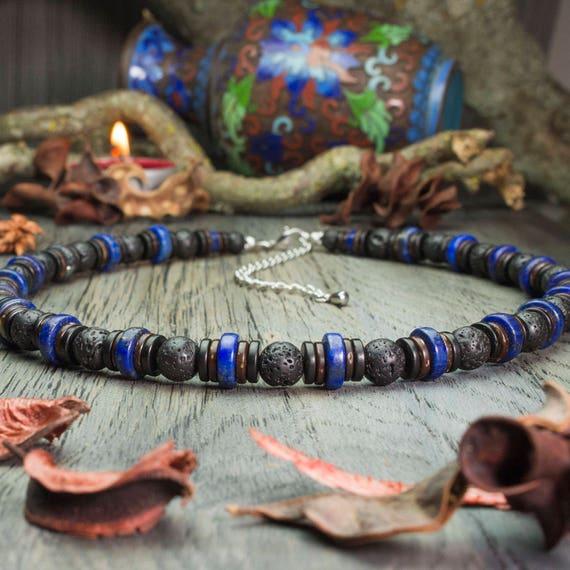 Beautiful necklace men pearls gemstone natural Lapis Lazuli Ø10mm lava volcanic wood coconut/coconut Ø8mm handmade Creation 1000ola