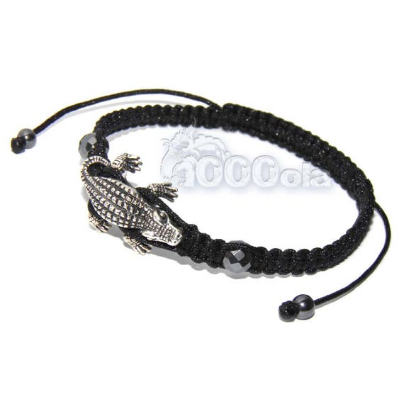 Men's/men's style Shambala bracelet metal crocodile color antique silver + Hematite + black handmade yarn